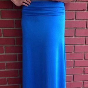 Etsy/June Designs Clothing Skirts - Brand New Blue Bamboo Cotton Lycra Maxi Skirt